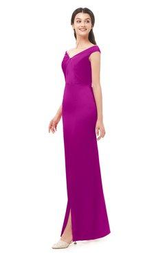 ColsBM Maryam Sangria Bridesmaid Dresses Mature Sheath Off The Shoulder Floor Length Half Backless Split-Front