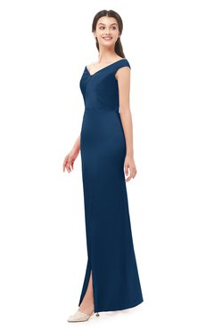 ColsBM Maryam Twilight Blue Bridesmaid Dresses Mature Sheath Off The Shoulder Floor Length Half Backless Split-Front