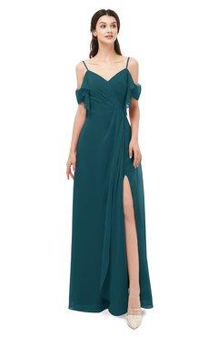 ColsBM Blair Blue Green Bridesmaid Dresses Spaghetti Zipper Simple A-line Ruching Short Sleeve