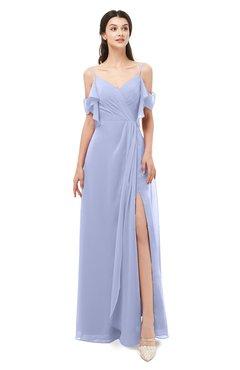 ColsBM Blair Blue Heron Bridesmaid Dresses Spaghetti Zipper Simple A-line Ruching Short Sleeve