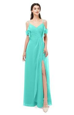 ColsBM Blair Blue Turquoise Bridesmaid Dresses Spaghetti Zipper Simple A-line Ruching Short Sleeve