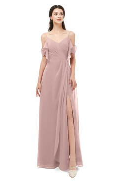 ColsBM Blair Blush Pink Bridesmaid Dresses Spaghetti Zipper Simple A-line Ruching Short Sleeve