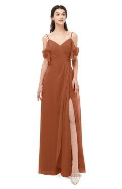 ColsBM Blair Bombay Brown Bridesmaid Dresses Spaghetti Zipper Simple A-line Ruching Short Sleeve
