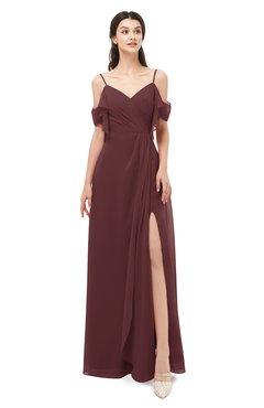 ColsBM Blair Burgundy Bridesmaid Dresses Spaghetti Zipper Simple A-line Ruching Short Sleeve