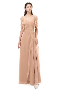 ColsBM Blair Burnt Orange Bridesmaid Dresses Spaghetti Zipper Simple A-line Ruching Short Sleeve