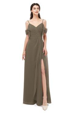 ColsBM Blair Carafe Brown Bridesmaid Dresses Spaghetti Zipper Simple A-line Ruching Short Sleeve