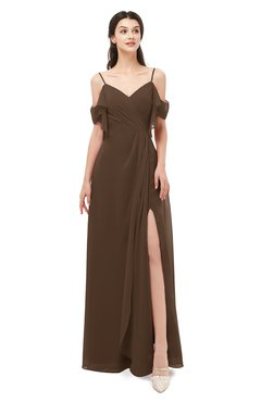 ColsBM Blair Chocolate Brown Bridesmaid Dresses Spaghetti Zipper Simple A-line Ruching Short Sleeve