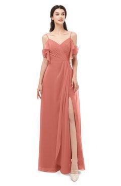ColsBM Blair Crabapple Bridesmaid Dresses Spaghetti Zipper Simple A-line Ruching Short Sleeve