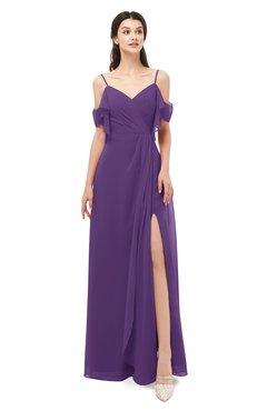 ColsBM Blair Dark Purple Bridesmaid Dresses Spaghetti Zipper Simple A-line Ruching Short Sleeve