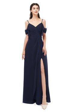 ColsBM Blair Dark Sapphire Bridesmaid Dresses Spaghetti Zipper Simple A-line Ruching Short Sleeve