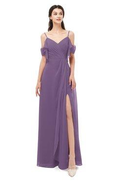 ColsBM Blair Eggplant Bridesmaid Dresses Spaghetti Zipper Simple A-line Ruching Short Sleeve