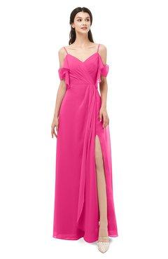 ColsBM Blair Fandango Pink Bridesmaid Dresses Spaghetti Zipper Simple A-line Ruching Short Sleeve