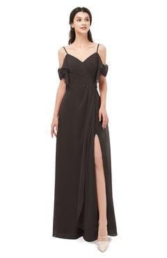ColsBM Blair Fudge Brown Bridesmaid Dresses Spaghetti Zipper Simple A-line Ruching Short Sleeve