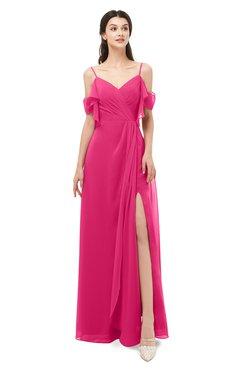 ColsBM Blair Fuschia Bridesmaid Dresses Spaghetti Zipper Simple A-line Ruching Short Sleeve
