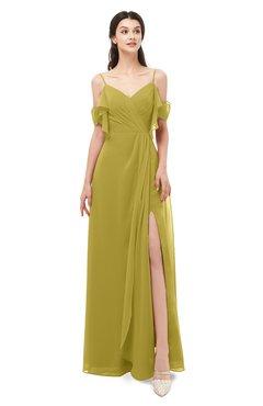 ColsBM Blair Golden Olive Bridesmaid Dresses Spaghetti Zipper Simple A-line Ruching Short Sleeve