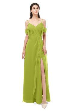 ColsBM Blair Green Oasis Bridesmaid Dresses Spaghetti Zipper Simple A-line Ruching Short Sleeve