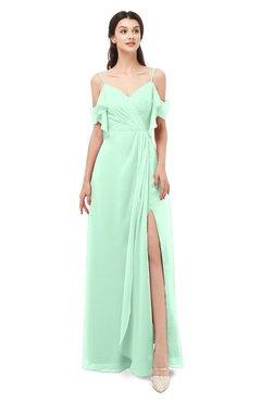 ColsBM Blair Honeydew Bridesmaid Dresses Spaghetti Zipper Simple A-line Ruching Short Sleeve