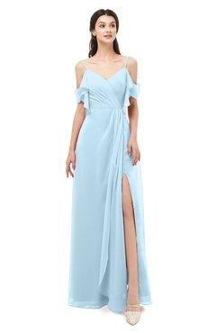 ColsBM Blair Ice Blue Bridesmaid Dresses Spaghetti Zipper Simple A-line Ruching Short Sleeve