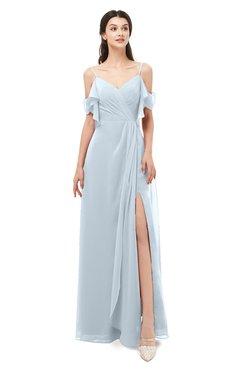 ColsBM Blair Illusion Blue Bridesmaid Dresses Spaghetti Zipper Simple A-line Ruching Short Sleeve