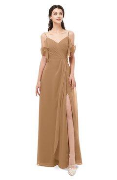 ColsBM Blair Light Brown Bridesmaid Dresses Spaghetti Zipper Simple A-line Ruching Short Sleeve