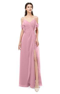 ColsBM Blair Light Coral Bridesmaid Dresses Spaghetti Zipper Simple A-line Ruching Short Sleeve