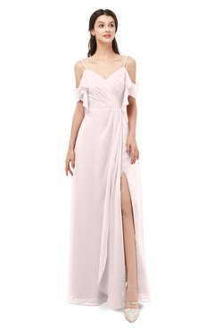 ColsBM Blair Light Pink Bridesmaid Dresses Spaghetti Zipper Simple A-line Ruching Short Sleeve