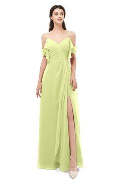 ColsBM Blair Lime Sherbet Bridesmaid Dresses Spaghetti Zipper Simple A-line Ruching Short Sleeve