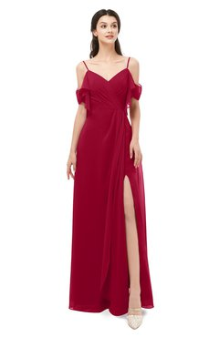 ColsBM Blair Maroon Bridesmaid Dresses Spaghetti Zipper Simple A-line Ruching Short Sleeve