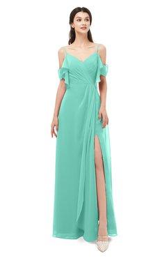 ColsBM Blair Mint Green Bridesmaid Dresses Spaghetti Zipper Simple A-line Ruching Short Sleeve