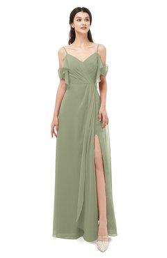 ColsBM Blair Moss Green Bridesmaid Dresses Spaghetti Zipper Simple A-line Ruching Short Sleeve