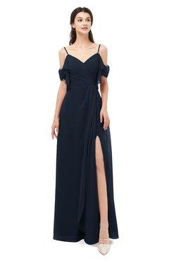 ColsBM Blair Navy Blue Bridesmaid Dresses Spaghetti Zipper Simple A-line Ruching Short Sleeve