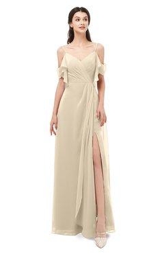 ColsBM Blair Novelle Peach Bridesmaid Dresses Spaghetti Zipper Simple A-line Ruching Short Sleeve