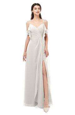 ColsBM Blair Off White Bridesmaid Dresses Spaghetti Zipper Simple A-line Ruching Short Sleeve