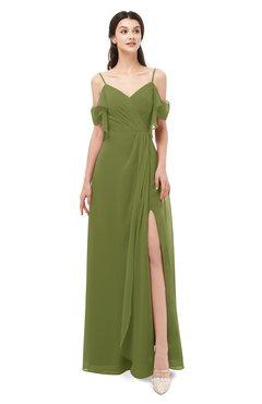 ColsBM Blair Olive Green Bridesmaid Dresses Spaghetti Zipper Simple A-line Ruching Short Sleeve