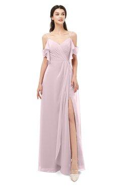 ColsBM Blair Pale Lilac Bridesmaid Dresses Spaghetti Zipper Simple A-line Ruching Short Sleeve