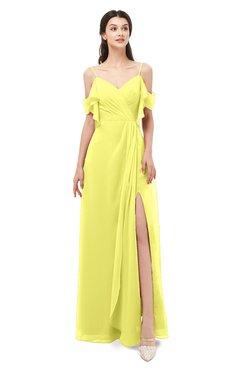 ColsBM Blair Pale Yellow Bridesmaid Dresses Spaghetti Zipper Simple A-line Ruching Short Sleeve
