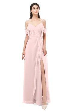ColsBM Blair Pastel Pink Bridesmaid Dresses Spaghetti Zipper Simple A-line Ruching Short Sleeve