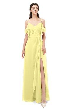 ColsBM Blair Pastel Yellow Bridesmaid Dresses Spaghetti Zipper Simple A-line Ruching Short Sleeve