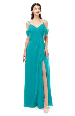 ColsBM Blair Peacock Blue Bridesmaid Dresses Spaghetti Zipper Simple A-line Ruching Short Sleeve
