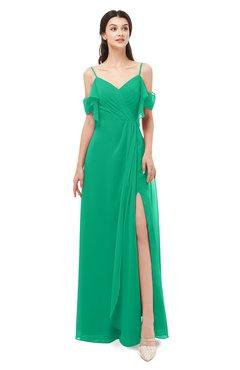 ColsBM Blair Pepper Green Bridesmaid Dresses Spaghetti Zipper Simple A-line Ruching Short Sleeve