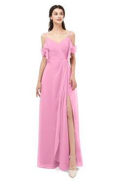 ColsBM Blair Pink Bridesmaid Dresses Spaghetti Zipper Simple A-line Ruching Short Sleeve