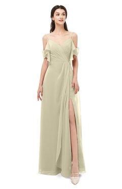 ColsBM Blair Putty Bridesmaid Dresses Spaghetti Zipper Simple A-line Ruching Short Sleeve