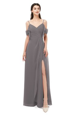 ColsBM Blair Ridge Grey Bridesmaid Dresses Spaghetti Zipper Simple A-line Ruching Short Sleeve