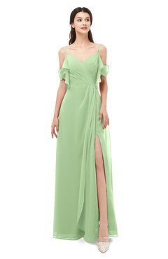 ColsBM Blair Sage Green Bridesmaid Dresses Spaghetti Zipper Simple A-line Ruching Short Sleeve
