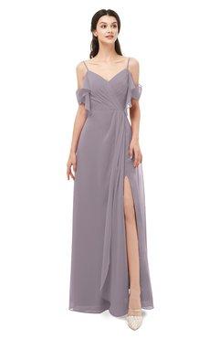 ColsBM Blair Sea Fog Bridesmaid Dresses Spaghetti Zipper Simple A-line Ruching Short Sleeve