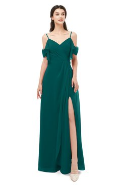 ColsBM Blair Shaded Spruce Bridesmaid Dresses Spaghetti Zipper Simple A-line Ruching Short Sleeve
