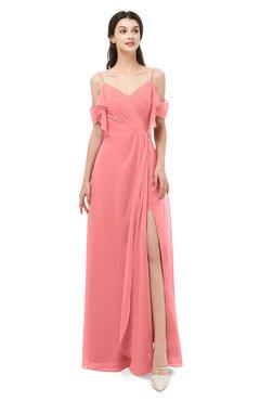 ColsBM Blair Shell Pink Bridesmaid Dresses Spaghetti Zipper Simple A-line Ruching Short Sleeve