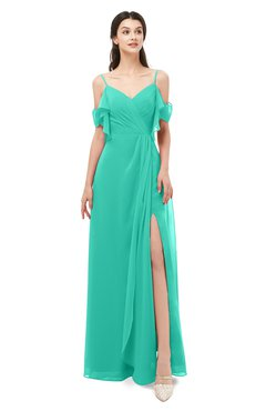 ColsBM Blair Viridian Green Bridesmaid Dresses Spaghetti Zipper Simple A-line Ruching Short Sleeve
