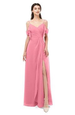 ColsBM Blair Watermelon Bridesmaid Dresses Spaghetti Zipper Simple A-line Ruching Short Sleeve
