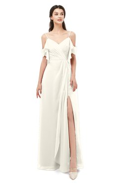 ColsBM Blair Whisper White Bridesmaid Dresses Spaghetti Zipper Simple A-line Ruching Short Sleeve